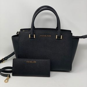 MICHAEL KORS SELMA MEDIUM SATCHEL +WALLET SET